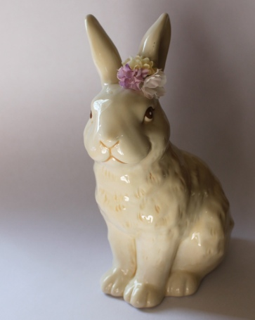 Target Ceramic Bunny with Chocolate Box Flower Corsage